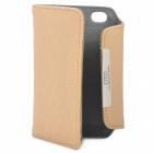 OMO Protective PU Leather Flip-Open Case for iPhone 4 / 4S - Khaki