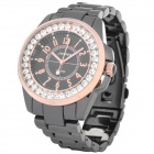 SINOBI Tungsten Steel Band Imitated Diamond Decoration Quartz Wrist Watch - Black + Golden (1 x 626)