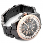SINOBI Tungsten Steel Band Crystal Decoration Quartz Wrist Watch - Black + Golden (1 x 626)