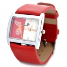 SINOBI Stylish PU Leather Band Quartz Wrist Watch - Red (1 x 626)