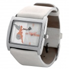 SINOBI Stylish PU Leather Band Quartz Wrist Watch - White (1 x 626)
