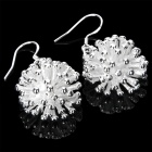 Elegant Sea Urchin Style Earrings - Silver + White (Pair)