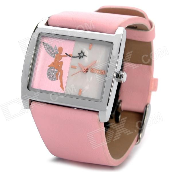 Fashion Sinobi 9361 Leather Band Quartz Wrist Watch - Pink (1 x SR626)