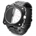 SINOBI Tungsten Steel Band Quartz Wrist Watch - White + Black (1 x 626)