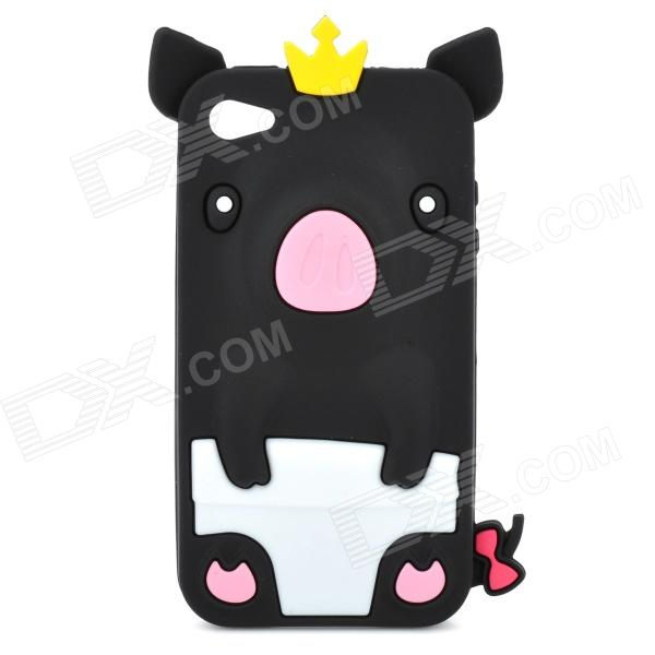 Protective 3D Crown Pig Style Silicone Case for Iphone 4 / 4S - Black stylish piano style soft silicone case for iphone 4 4s pink