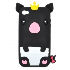 Protective 3D Crown Pig Style Silicone Case for Iphone 4 / 4S - Black