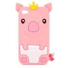 Protective 3D Crown Pig Style Silicone Case for iPhone 4 / 4S - Pink