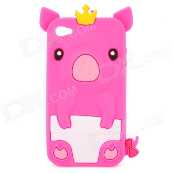 Protective 3D Crown Pig Style Silicone Case for Iphone 4 / 4S - Deep Pink cool skull head style protective soft silicone back case for iphone 4 4s pink