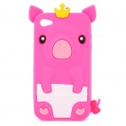 Protective 3D Crown Pig Style Silicone Case for Iphone 4 / 4S - Deep Pink