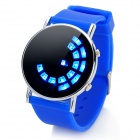 Fashion Silicone Band Round Mirror Dial Blue LED Light Wrist Watch - Blue (1 x CR2016)