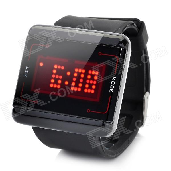 Square Shaped Touch Screen LED Wrist Watch with Red Backlight - Black (2 x CR2016) fashion stainless steel red yellow led water resistant wrist watch black 2 x cr2016