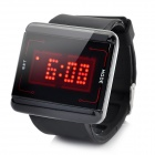Square Shaped Touch Screen LED Wrist Watch with Red Backlight - Black (2 x CR2016)