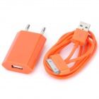 AC Charging Adapter Charger + USB Cable Set for iPhone 4 / 4S - Orange