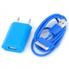 AC Charging Adapter Charger + USB Cable Set for iPhone 4 / 4S - Blue