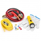 5-in-1 3M Tow Rope + Battery Cables + Gloves + Flashlight + Fuses Car Emergency Kit