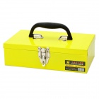Handheld Engineering Plastic Tool Storage Box Case - Yellow + Silver