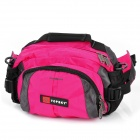 Multifunction Outdoor Nylon Fabric Waist Bag with Shoulder Strap - Rosy + Black