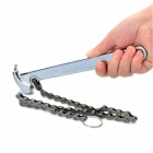 "BOSI 9"" Professional High-Carbon Steel Adjustable Spanner Wrench with Chain - Silver"