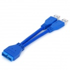 2-Port USB 3.0 macho a la placa base 20-Pin cable convertidor Macho - Azul (15 cm)