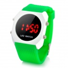 Silicone Jelly Band Round Dial Red LED Wrist Watch - Green + White (1 x CR2032)