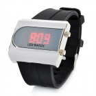 Cool PU Band Square Stainless Steel Case Red LED Wrist Watch - Black (1 x CR2016)