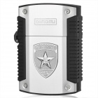 LM303 Military Grade Windproof Oil Lighter - Black + Silver