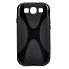 """X"" Style Protective Silicone Back Case for Samsung Galaxy S3 i9300 - Black"