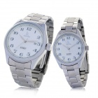 Genuine IKcolouring Water Resistant Mechanical Wrist Watches for Couple - White (2-Piece Pack)