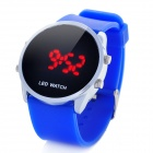 Simple Silicone Band Round Dial Red LED Wrist Watch - Blue (1 x CR2032)