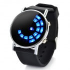 Fashion Silicone Band Round Mirror Dial Blue LED Light Wrist Watch - Black (1 x CR2016)