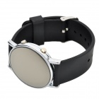 Fashion Silicone Band Round Mirror Dial Blue LED Light Watch - Black