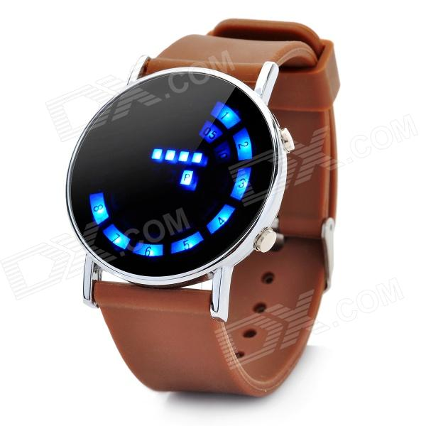 Fashion Silicone Band Round Mirror Dial Blue LED Light Wrist Watch - Brown (1 x CR2016) stylish touch screen blue led wrist watch black 2 x cr2016