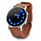 Fashion Silicone Band Round Mirror Dial Blue LED Light Wrist Watch - Brown (1 x CR2016)