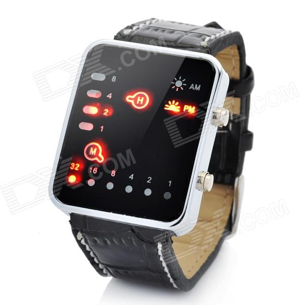 Stylish PU Leather Band LED Wrist Watch - Brown (1 x CR2032)
