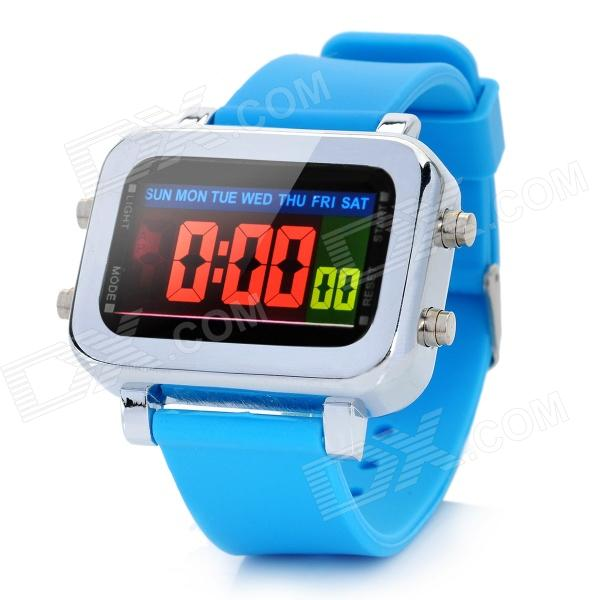 Multi-Function Water Resistant Colorful LED Digital Wrist Watch - Light Blue (1 x CR2032) stylish 72 led blue light digit alloy bracelet wrist watch silver 2 x cr2032