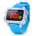 Multi-Function Water Resistant Colorful LED Digital Wrist Watch - Light Blue (1 x CR2032)