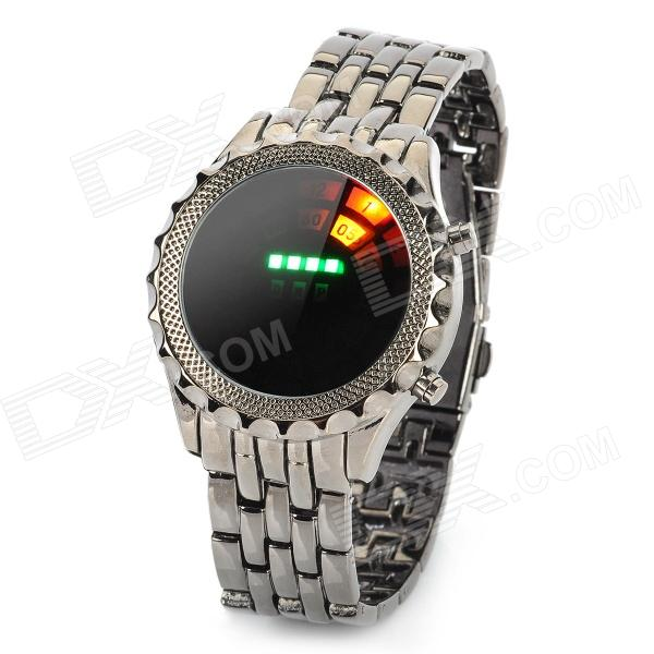 Fashion Alloy Band Circle Ball Colorful LED Light Wrist Watch - Black (2 x CR2016) fashion stainless steel red yellow led water resistant wrist watch black 2 x cr2016