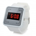 Multi-Function Silicone Band Touch Screen Red LED Wrist Watch - White (1 x CR2032)