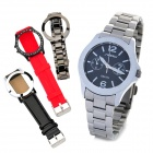 SINOBI Lady's Stainless Steel Band Quartz Wrist Watch w/ 3 Watch Bands / Cases - Silver (1 x 626)