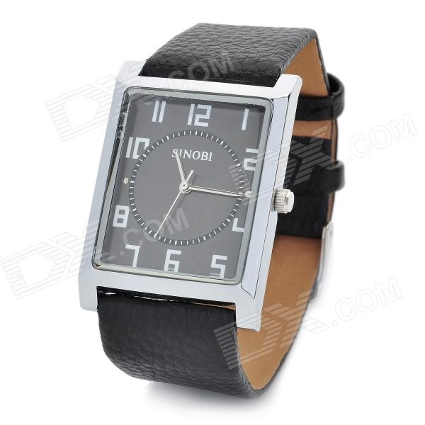 Fashion Men' SINOBI Leather Band Square Dial Quartz Wrist Watch - Black (1 x 626) men s silicone band big square dial quartz wrist watch black golden 1 x 377