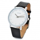 Simple SINOBI Leather Band Round Dial Quartz Wrist Watch - Black (1 x 626)