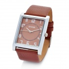SINOBI Leather Band Square Dial Quartz Wrist Watch - Brown (1 x 626)
