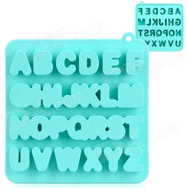 Silicone Letter Alphabet Shaped Ice Cubes Trays Maker DIY Mould - Green silicone skeleton shaped ice cubes trays maker diy mould random color