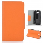 Protective PU Leather + Fiber Case for Samsung Galaxy S3 i9300 - Orange