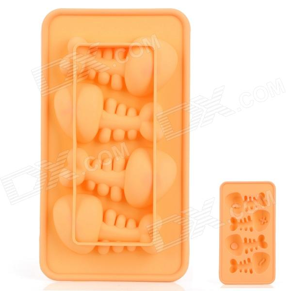 Silicone Fishbone Shaped Ice Cubes Trays Maker DIY Mould - Yellow silicone skeleton shaped ice cubes trays maker diy mould random color