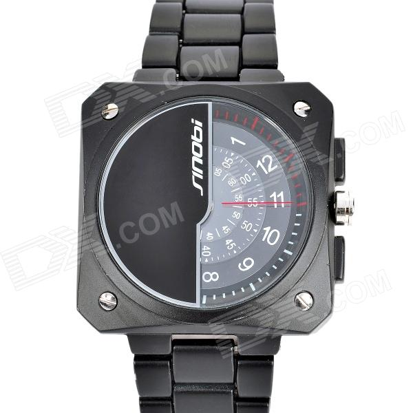 SINOBI 9373 Unique Dial Designed Tungsten Steel Band Quartz Wrist Watch - Black (1 x 626) curren 8019 water resistant electroplating tungsten steel quartz wrist watch black 1 x 626