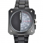 SINOBI 9373 Unique Dial Designed Tungsten Steel Band Quartz Wrist Watch - Black (1 x 626)