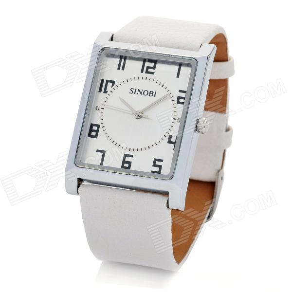 SINOBI Leather Band Square Dial Quartz Wrist Watch - White (1 x 626)
