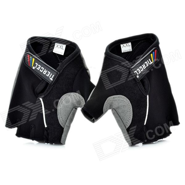 Body Building Sports Cycling Half Finger Gloves - Black + Grey (Pair/Size-XXL) body building sports cycling half finger gloves black grey pair size xxl