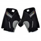 Body Building Sports Cycling Half Finger Gloves - Black + Grey (Pair/Size-XXL)